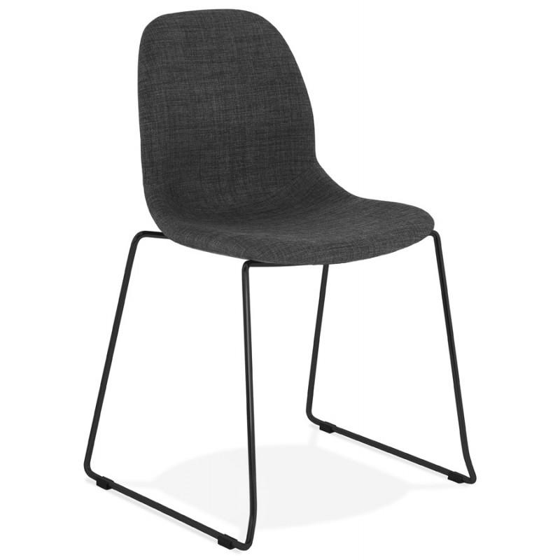 chaise design empilable en tissu pieds metal noir manou gris fonce chaises