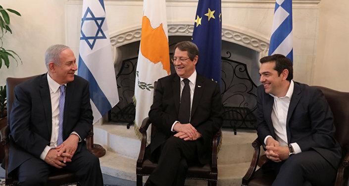Netanyahu-Anastasiadis-Çipras, 8 Mayıs 2018'de Lefkoşa'da üçlü zirvede
