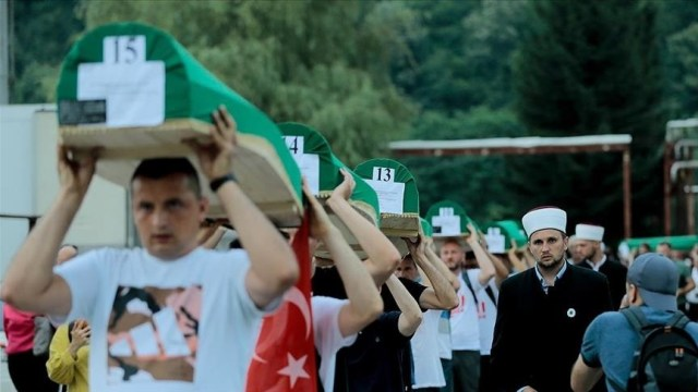Coffins of 19 Srebrenica genocide victims carried to Potocari cemetery