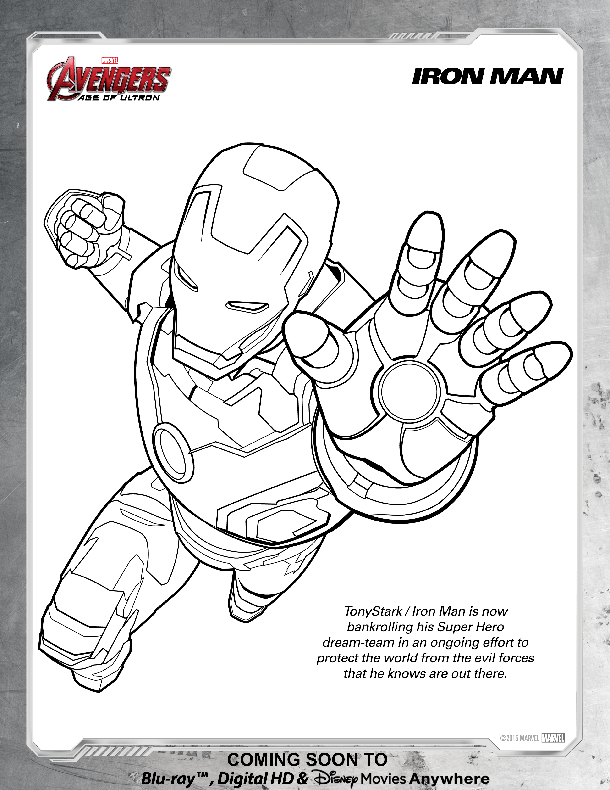 Avengers Iron Man Coloring Page Disney Movies