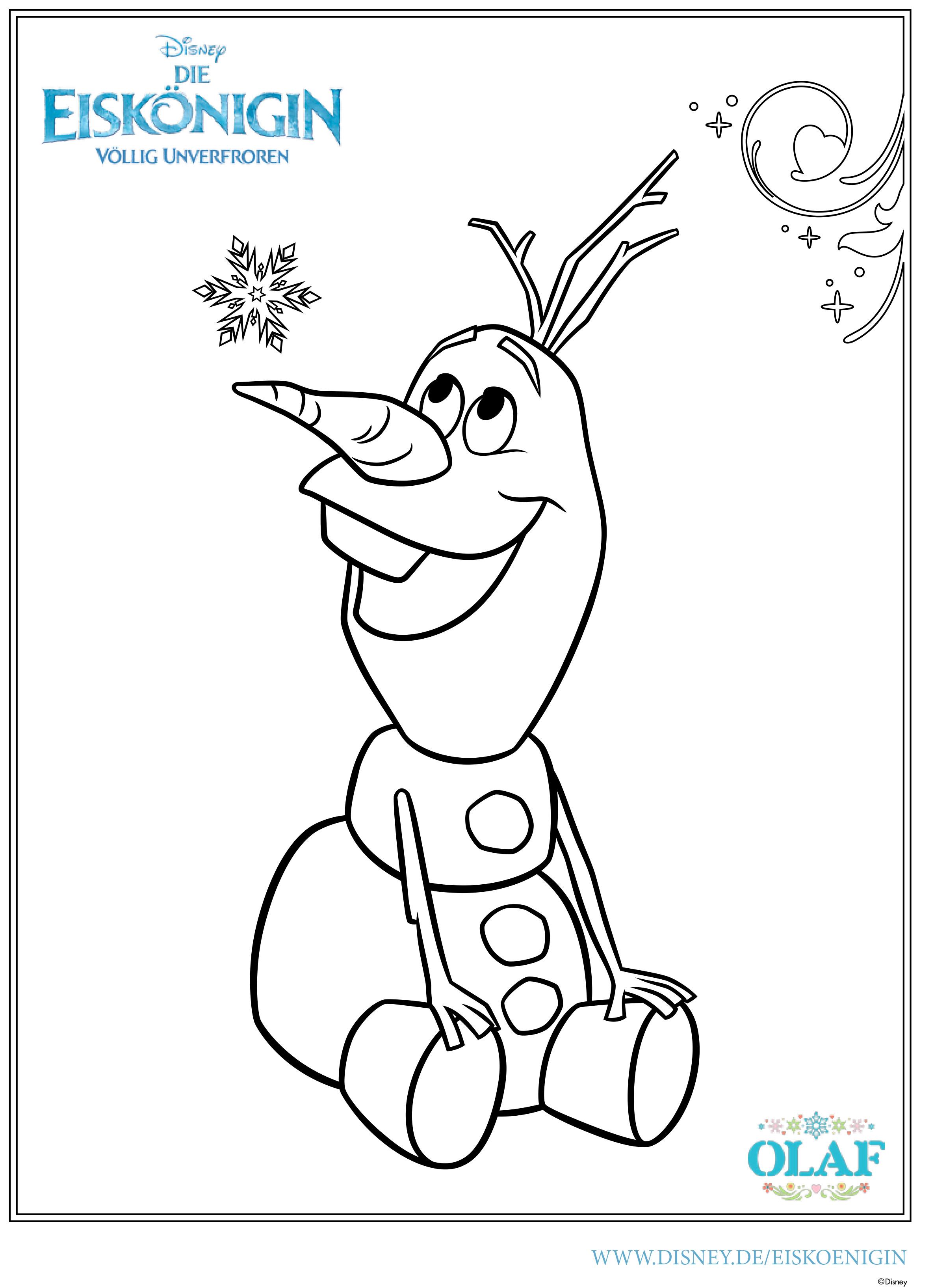 Frozen - Ausmalbilder 2015 - Olaf 01 Die Eiskönigin