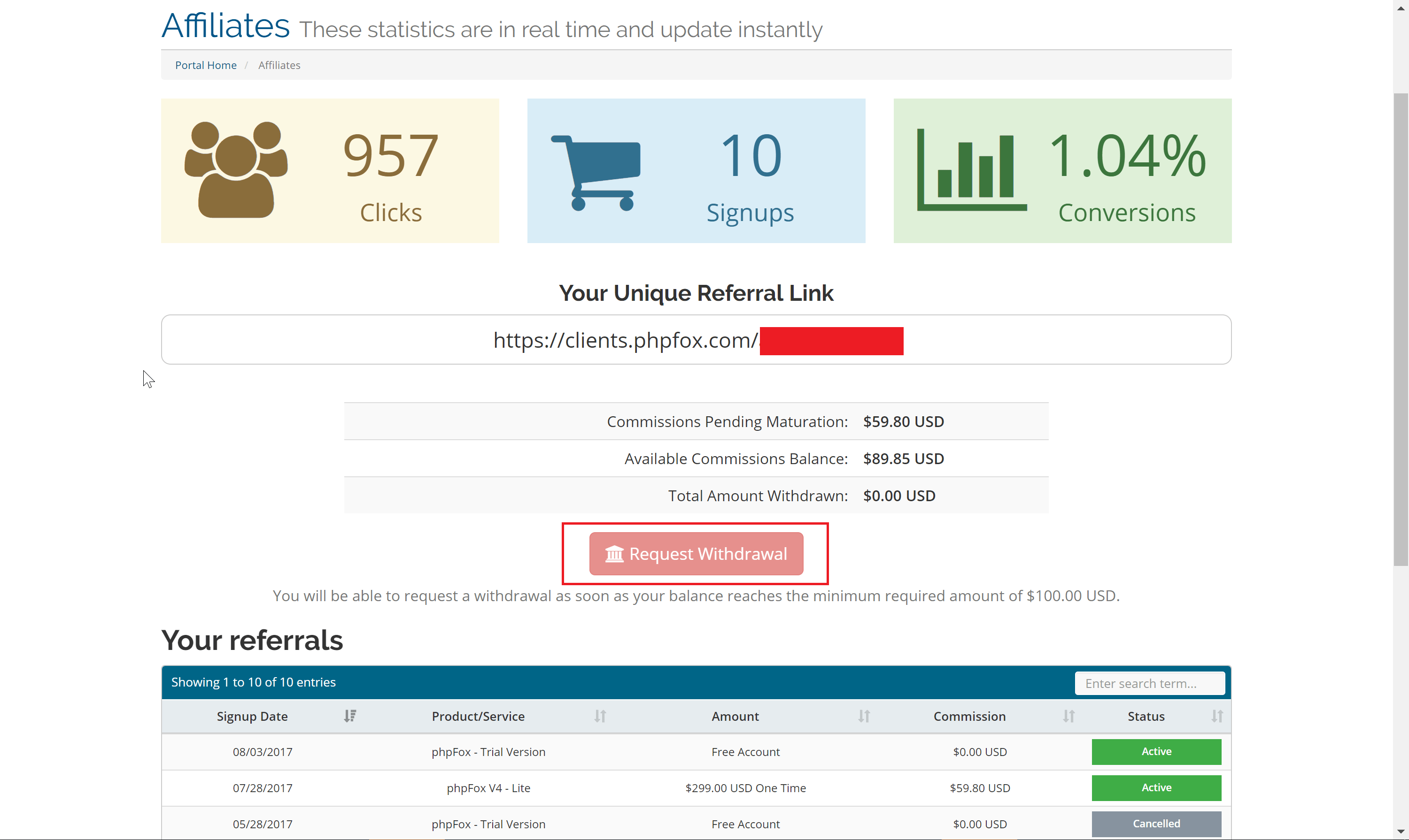 Request Withdrawal