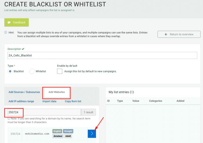 create blacklist or whitelist on plugrush