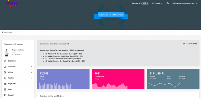 affise affiliates dashboard