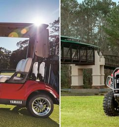 two images of a yamaha golf cart on the golf range and off [ 1920 x 640 Pixel ]