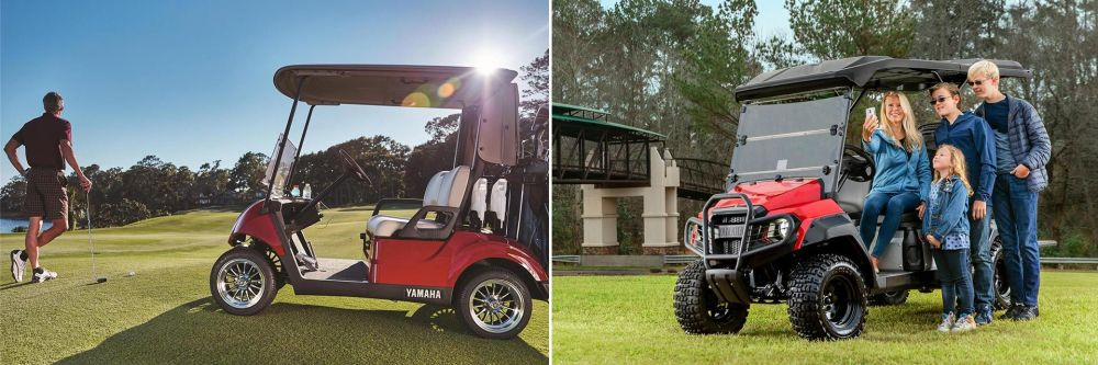 medium resolution of two images of a yamaha golf cart on the golf range and off