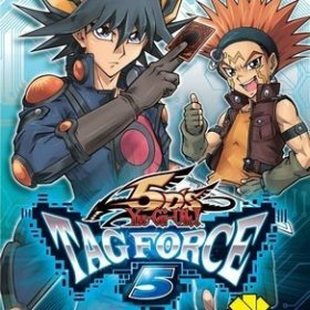 The cover art of the game Yu-Gi-Oh! 5D's Tag Force 5.