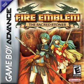 The cover art of the game Fire Emblem: The Sacred Stones.