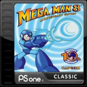 The cover art of the game Mega Man 8.