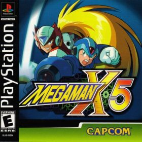 The cover art of the game Mega Man X5.