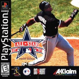 The cover art of the game All-Star Baseball '97 Featuring Frank Thomas.