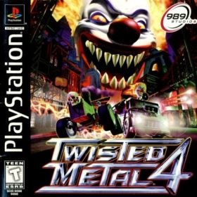 The cover art of the game Twisted Metal 4.