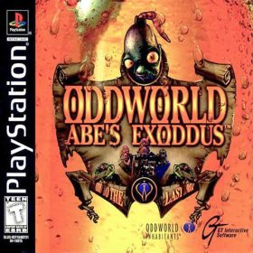 The cover art of the game Oddworld: Abe's Exoddus.