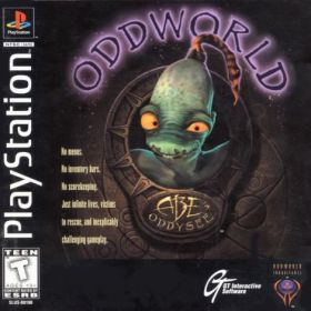 The cover art of the game Oddworld: Abe's Oddysee.