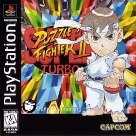 The cover art of the game Super Puzzle Fighter II Turbo.