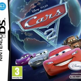 The cover art of the game Cars 2.