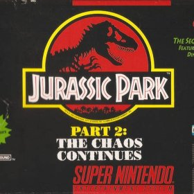 The cover art of the game Jurassic Park II - The Chaos Continues .