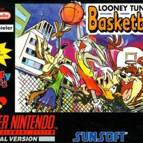 The cover art of the game Looney Tunes Basketball.