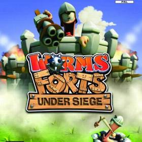 The cover art of the game Worms Forts: Under Siege.