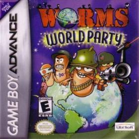 The cover art of the game Worms World Party.