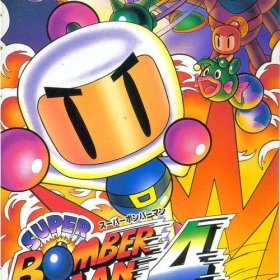 The cover art of the game Super Bomberman 4 .