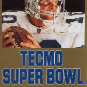 The cover art of the game Tecmo Super Bowl .