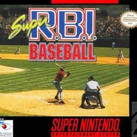 The cover art of the game Super R.B.I. Baseball.