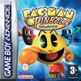 The cover art of the game Pac-Man Pinball Advance .