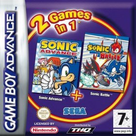 The cover art of the game 2 in 1 - Sonic Advance & Sonic Battle .