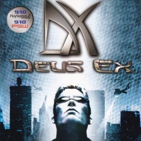 The cover art of the game Deus Ex.