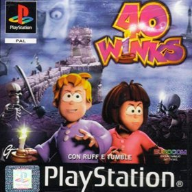 The cover art of the game 40 Winks: Con Ruff e Tumble.