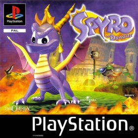 The cover art of the game Spyro the Dragon.