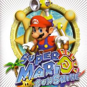 The cover art of the game Super Mario Sunshine.