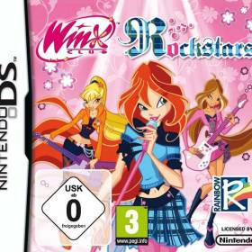 The cover art of the game Winx Club: Rockstars.