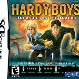 The cover art of the game The Hardy Boys: Treasure on the Tracks.