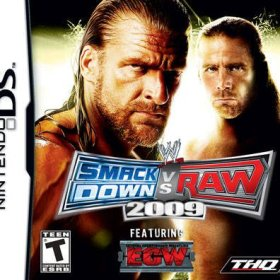 The cover art of the game WWE SmackDown vs Raw 2009 featuring ECW.