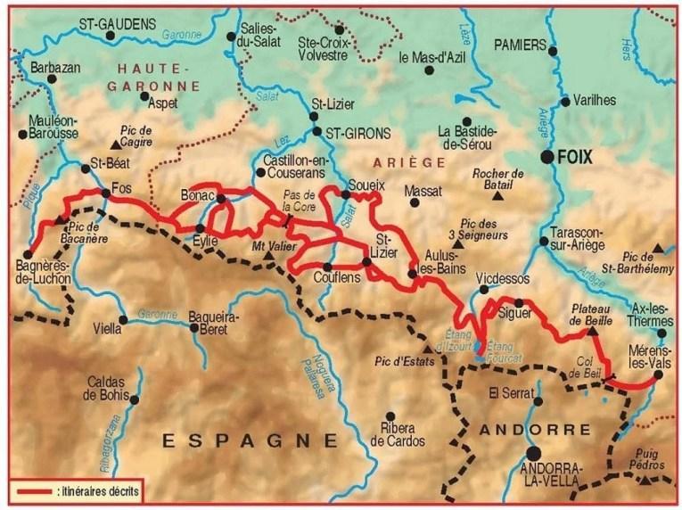 carte GR10 Pyrénées Ariégeoises