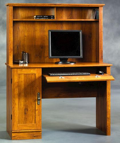 Sauder Harvest Mill Abbey Oak Computer Desk with Hutch at