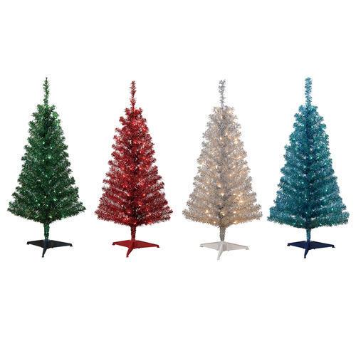 4 Prelit Tinsel Tree Assorted Colors at Menards