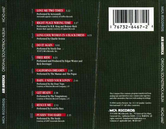 Air America Soundtrack 1990 Cd Sniper Reference
