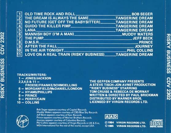 Risky Business Soundtrack 1984  CD Sniper Reference Collection of Rare Movie Soundtracks