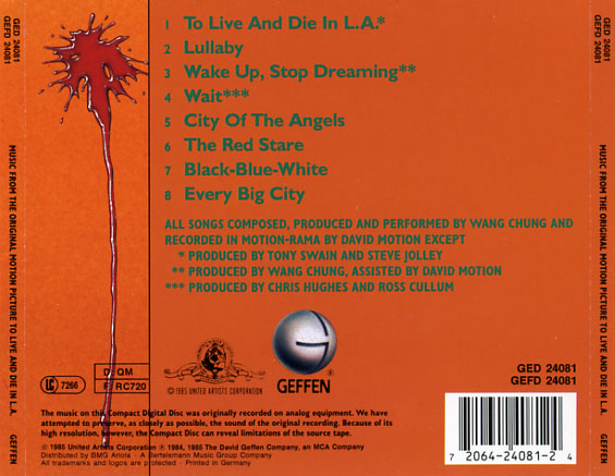 To Live and Die in LA Soundtrack 1985  CD Sniper