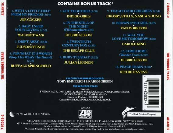 The Wonder Years Soundtrack 1989  CD Sniper Reference