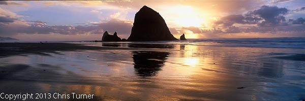 canon beach sunset winter