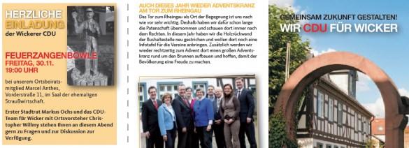 Broschüre CDU-Freunde Wicker mit Einladung zur Feuerzangenbowle