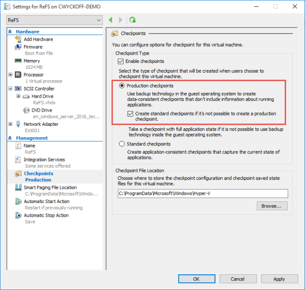 NEW in Hyper-V 2016: Production Checkpoints! – CDubHub us