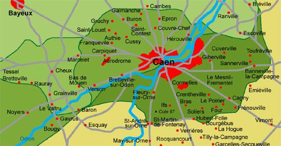 Carte de Caen et sa région