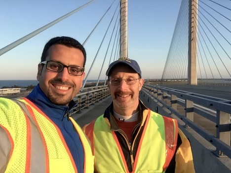 UD PhD Alum Hadi Al-Khateeb and Professor Michael Chajes During the First Load Testing of the IRIB (photo courtesy of M. Chajes)