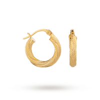 9ct Gold Textured Small Hoop Earrings