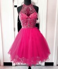 Crystal Beaded Prom Dresses Short High Neck Homecoming